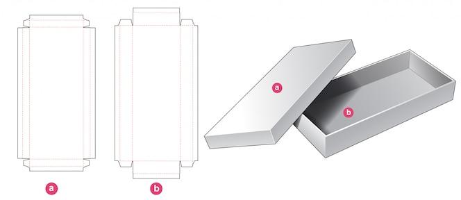 Kawałek sztywnego długiego pudełka wycinanego szablonu