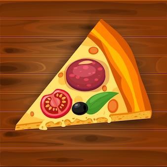 Kawałek włoskiej pizzy z różnymi składnikami pomidor, ser, oliwka, kiełbasa, bazylia.
