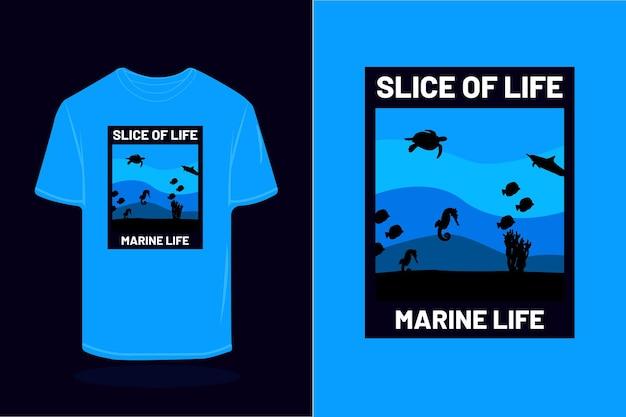 Kawałek życia sylwetka retro t shirt design