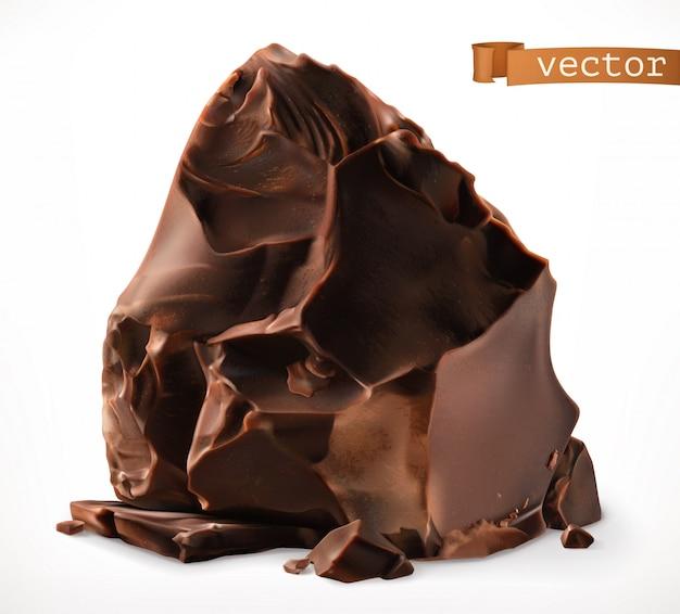 Kawałki ciemnej czekolady. 3d realistyczna ikona