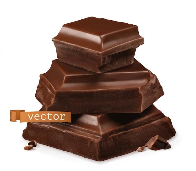 Kawałki czekolady 3d realistyczna ikona