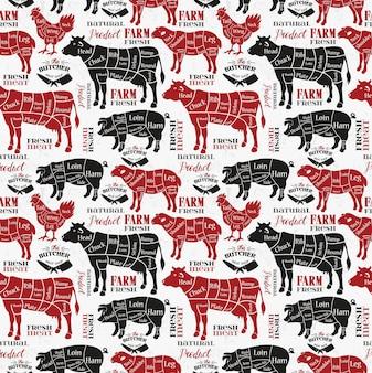 Kawałki mięsa. diagramy dla sklepu mięsnego