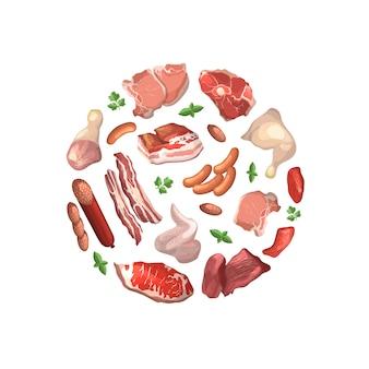 Kawałki mięsa kreskówka zebrane w ilustracja koło na białym tle