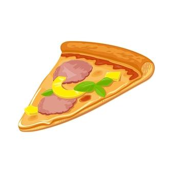 Kawałki pizzy hawajskiej hava. płaskie ilustracja na białym tle wektor plakat, menu, logotyp, broszura, sieci web i ikony. białe tło.