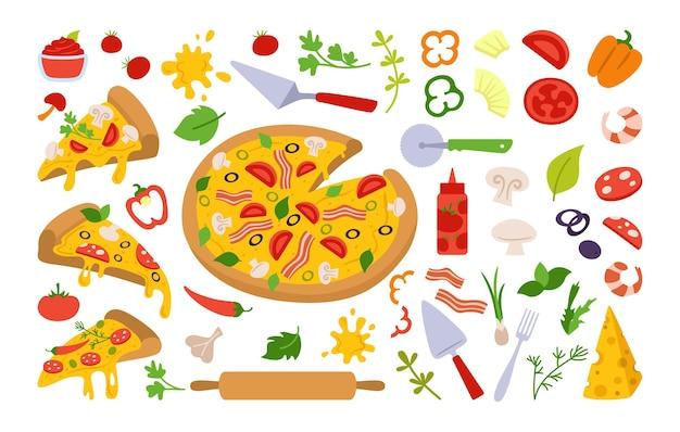 Kawałki pizzy i składniki zestaw kreskówka włoska ręcznie rysowane pizze z zieleniną, papryką, pomidorem, oliwą, serem, grzybami. margarita i hawajska, pepperoni lub owoce morza, meksykańska