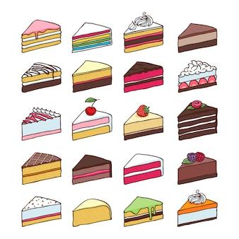 Kawałki plasterki kolorowe słodkie ciasta ustawić ręcznie rysowane ilustracji wektorowych.