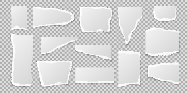 Kawałki podartego papieru. zestaw realistycznych krawędzi strony, pusty lub pusty biały poszarpany kwadratowy arkusz zeszytu w innym kształcie i rozmiarze, na białym tle ilustracji wektorowych na przezroczystym tle