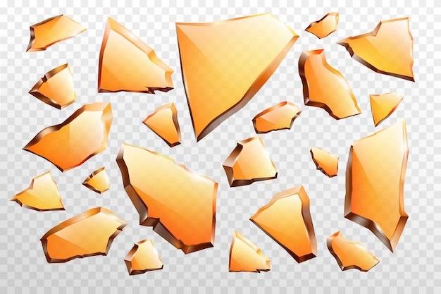 Kawałki potłuczonego szkła realistyczny wektor zestaw