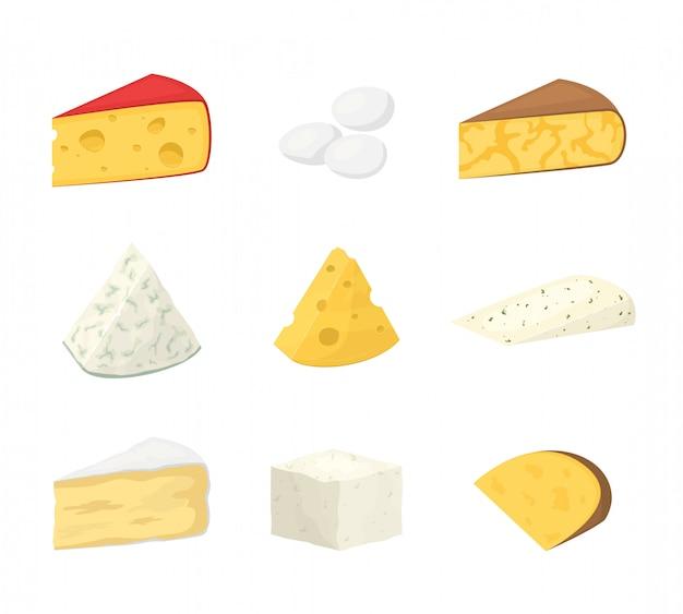 Kawałki sera na białym tle.