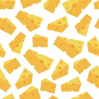 Kawałki sera wektor wzór szwu na tapetę