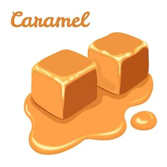 Kawałki słodkiego karmelu na białym tle.