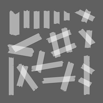 Kawałki taśmy klejącej ustawić różne rozmiary i kształty na szarym tle gotowy element sieci web. ilustracja wektorowa