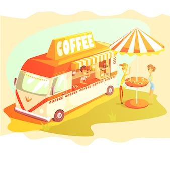 Kawiarnia cafe w mini bus w słoneczny dzień ze stolikiem na zewnątrz