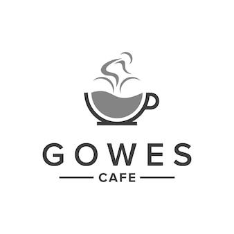 Kawiarnia filiżanka kawy z oparami rowerowymi kreatywny prosty elegancki nowoczesny projekt logo