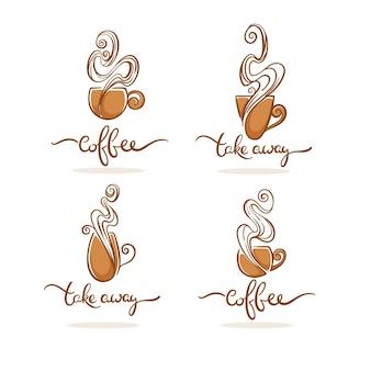 Kawiarnia i logo kawy na wynos wektor kolekcja symboli gorących i słodkich napojów