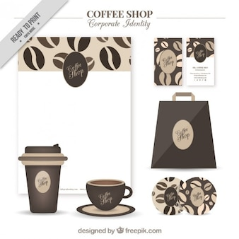 Kawiarnia identyfikacja wizualna ze szczegółami ziarna kawy