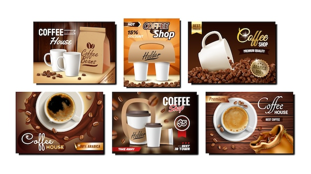 Kawiarnia kolekcja banery promocyjne zestaw
