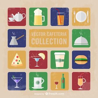 Kawiarnia kolekcja ikon wektorowych