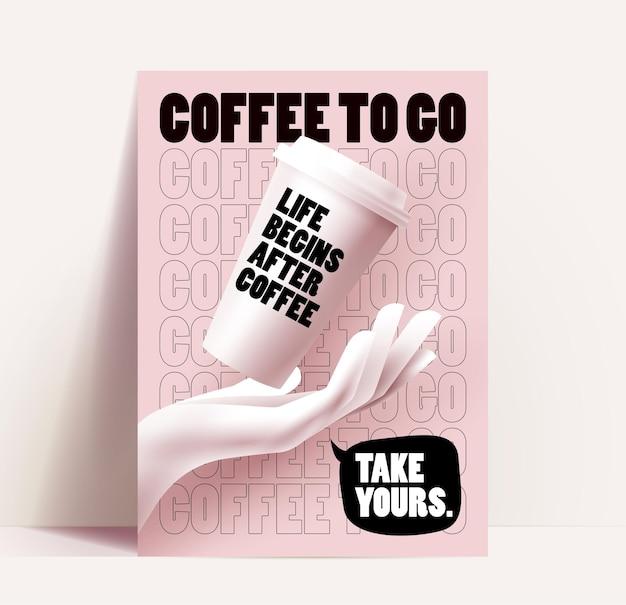 Kawiarnia lub kawiarnia ulotka, plakat lub szablon projektu banera