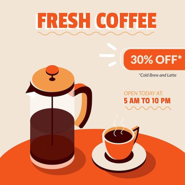 Kawiarnia sprzedaż social media post