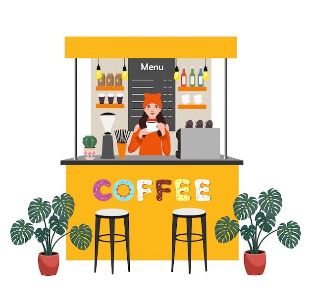 Kawiarnia z baristą parzenia kawy. ilustracja koncepcja nowoczesnego mieszkania dla małego biznesu.