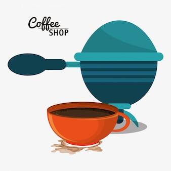 Kawiarnia z filtrem i filiżanką
