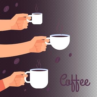 Kawowa wektorowa ilustracja z rękami trzyma filiżanki gorący napój