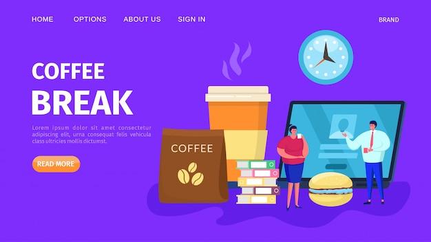 Kawowej przerwy pojęcia ludzie, ilustracja. biznesowego mężczyzna kobiety postać z filiżanką, napój przy tło sztandarem. praca w biurze