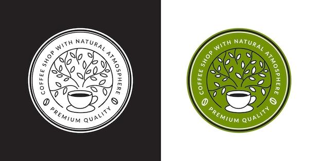 Kawowy charakter na logo, odznakę, emblemat i inne