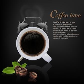 Kawowy czas na czarnym tle, wektorowa ilustracja.