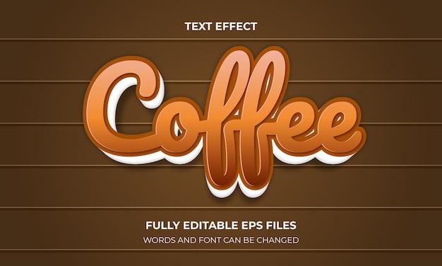 Kawowy efekt tekstowy 3d w stylu vector