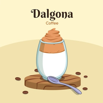 Kawowy ilustracyjny projekt dalgona