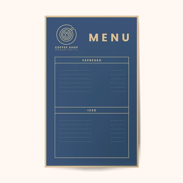 Kawowy menu szablonu odosobniony wektor