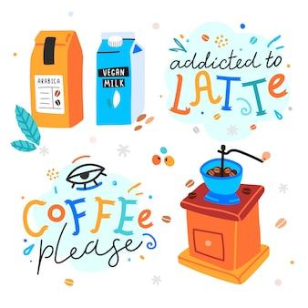 Kawowy odręczny napis z mieszanką kawy w opakowaniu i ilustracjami rocznika młynka do kawy