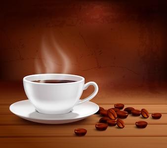 Kawowy plakat z realistyczną białej porcelany filiżanką na textured tle