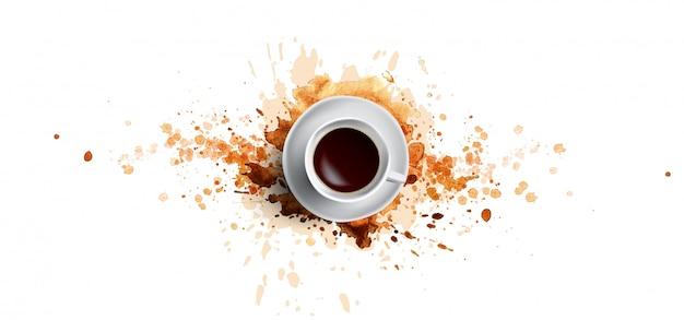 Kawowy pojęcie na białym tle - biała filiżanka, odgórny widok z akwareli kawowymi pluśnięciami. ręcznie rysować i akwarela kawa ilustracja z pięknymi plamami sztuki