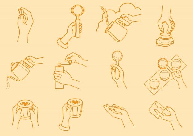 Kawowy robić z ręki ilustracją