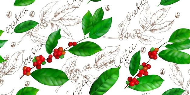 Kawowy wzór botaniczny z gałęziami