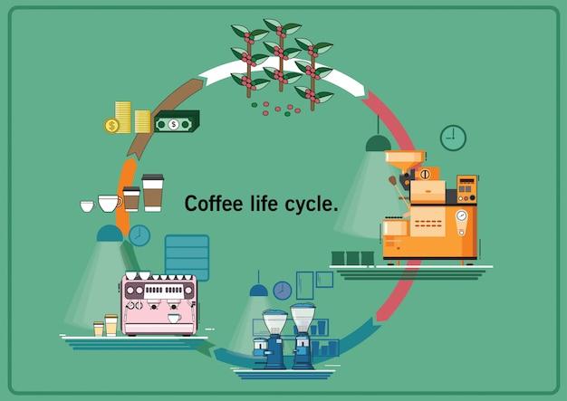Kawowy życie cyklu rocznika wektorowy stlye.