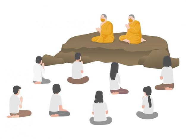 Kazanie, ludzie słuchający dharmy, mnisi uczą i mówią