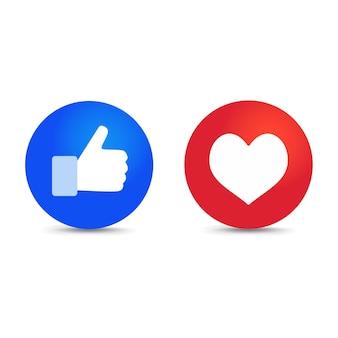 Kciuk w górę i ikona serca