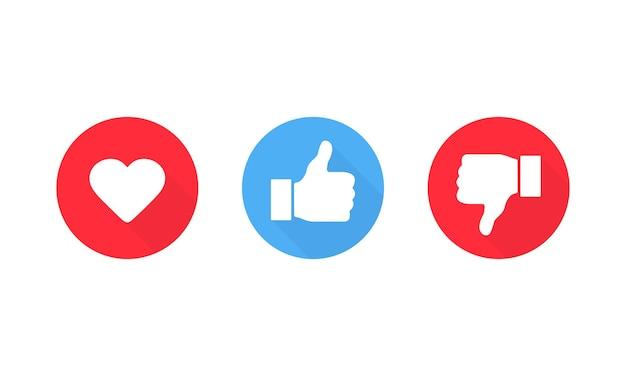Kciuk w górę i kciuk w dół symbol serca. lubię i nie lubię ikona. wektor eps 10