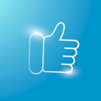 Kciuk w górę ikona technologii wektorowej w kolorze srebrnym na gradientowym tle