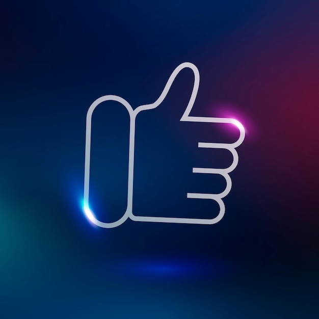 Kciuk w górę ikona technologii wektorowej w neonowym kolorze fioletowym na gradientowym tle