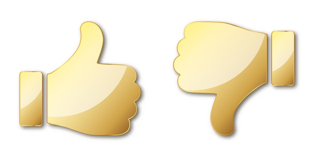 Kciuk w górę iw dół. ikona dłoni złota. ilustracja. złoty symbol lubienia i niechęci