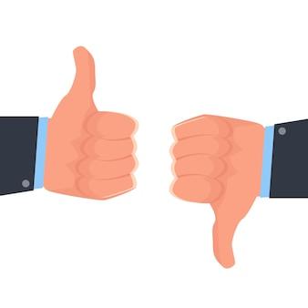 Kciuk w górę, kciuk w dół lubi i nie lubi ikony sieci społecznościowej. ilustracji wektorowych.