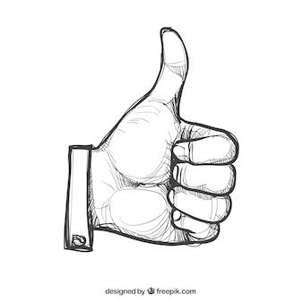 Kciuk w górę w stylu rysowane ręcznie