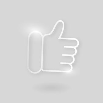 Kciuk w górę wektor ikona technologii w kolorze srebrnym na szarym tle