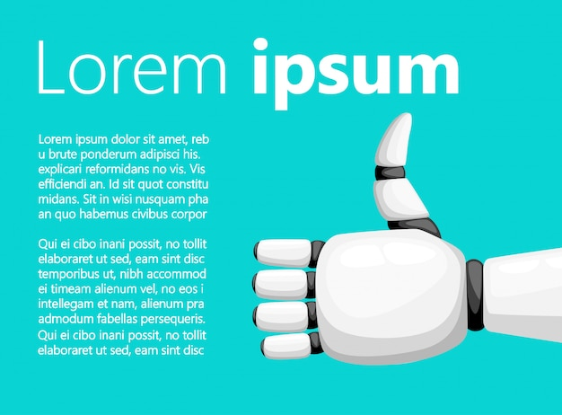 Kciuki w górę biała ręka robota lub ramię robota do ilustracji protetyki z miejscem na tekst na stronie internetowej i aplikacji mobilnej z turkusowym tłem
