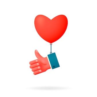 Kciuki w górę i ikona serca